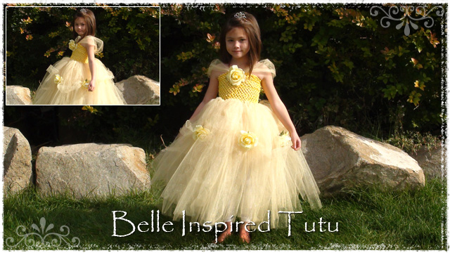 Girl wearing yellow belle tutu dress with yellow flowers