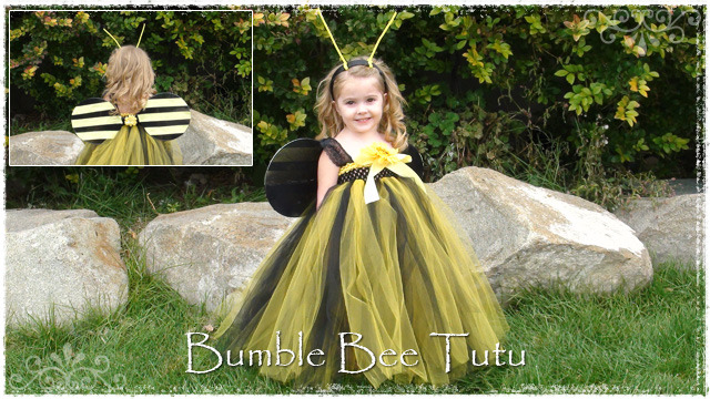 Girl wearing yellow and black Bumble Bee tutu dress