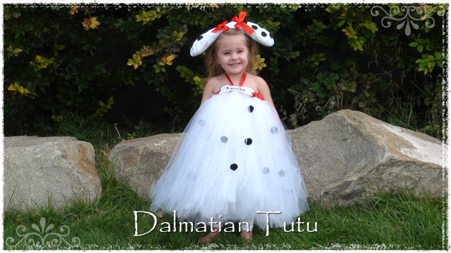 Girl wearing white Dalmatian tutu dress with cute ears