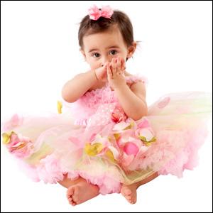 Baby wearing a pink tutu dress