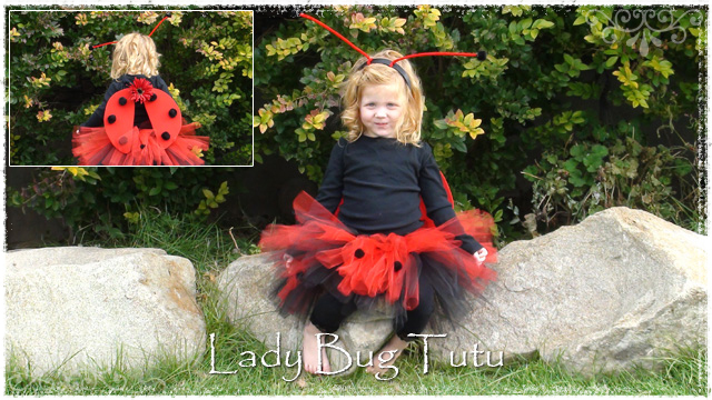 Girl wearing Lady Bug tutu skit with red antennas