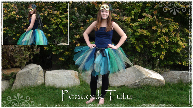 Girl wearing Peacock tutu with black wings