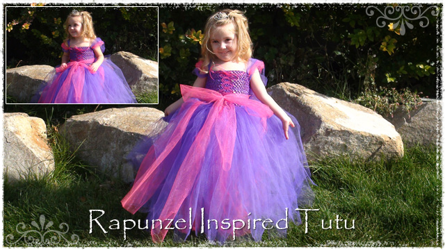 Girl wearing Rapunzel tutu dress with pink ribbon lace