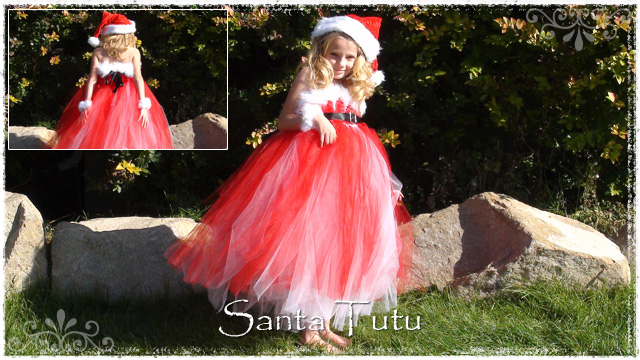 Girl wearing red and white Santa tutu dress