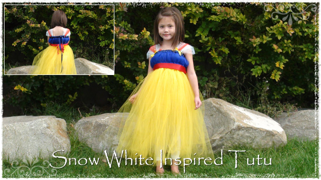 Girl wearing Snow White tutu dress