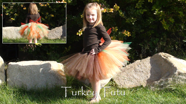 Girl wearing turkey tutu skirt