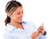 Lady using smart phone apps