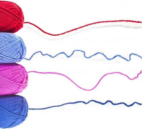 Various colors of yarn used in crochet
